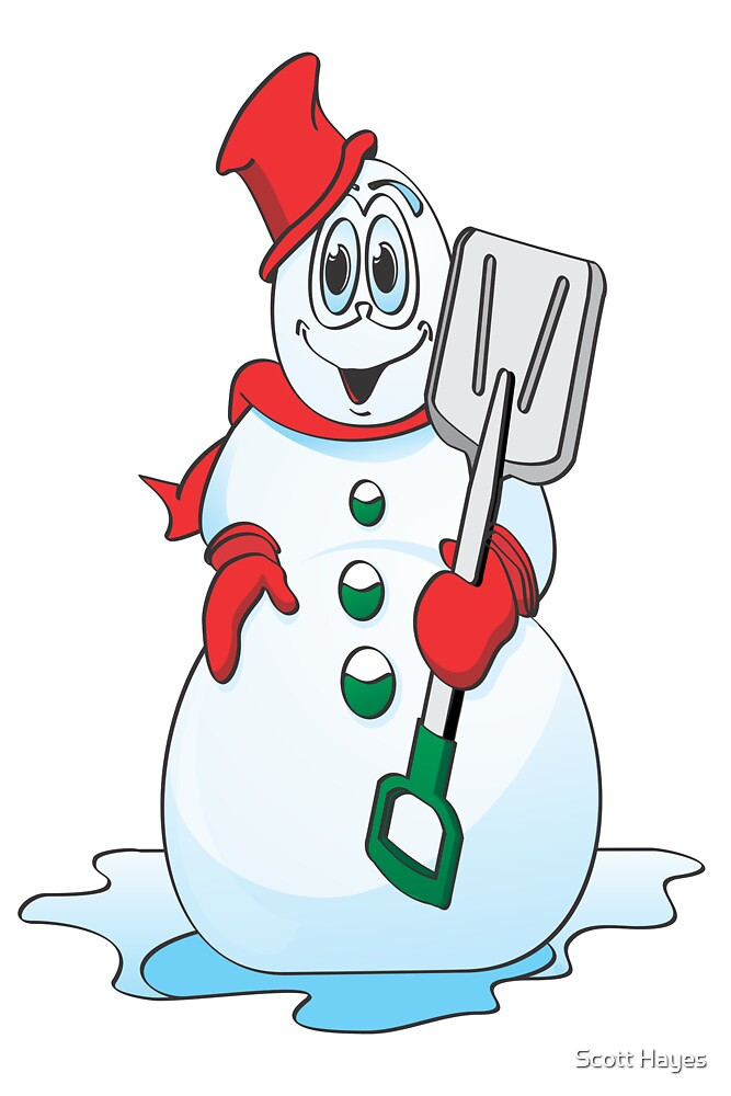 Red Snowman Cartoon by Graphxpro