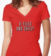 X-Files and Chill Women's Fitted V-Neck T-Shirt