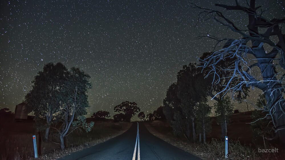 Quot Down The Country Road At Night Quot By Bazcelt Redbubble