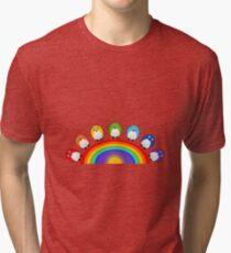 Little Cute Rainbow Birds Tri-blend T-Shirt