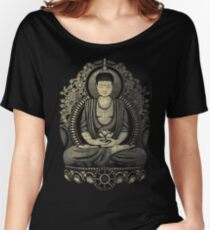 Gautama Buddha Yellow Halftone Textured Women's Relaxed Fit T-Shirt