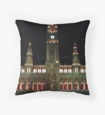 Vienna City Hall at Christmas Throw Pillow