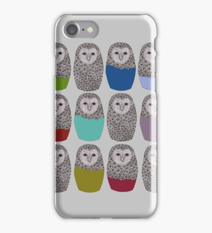 Bright Line Up of Owls iPhone Case/Skin