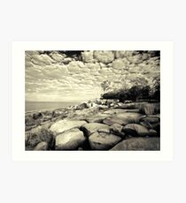 Lakeside Boulders  (duotone) Art Print