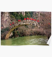 Excursionists crossing Kleidonia bridge Poster