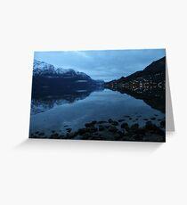 November morning twilight. Luster, west coast of Norway. Greeting Card