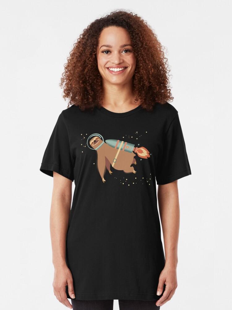 Alternative Ansicht von Happy sloth spaceman rocket jet pack Slim Fit T-Shirt