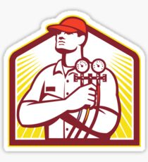 Heating and Cooling Refrigeration Technician Retro Sticker