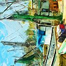 Shrimp Boats at the Pier Abstract Impressionism by pjwuebker
