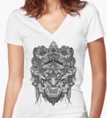 Mask Black & White Women's Fitted V-Neck T-Shirt