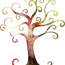 Watercolor Swirl Tree by Cherie Balowski
