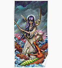 Woman Slaying a Sea Serpent Poster