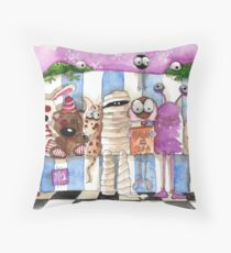 Monsters on the sofa Throw Pillow