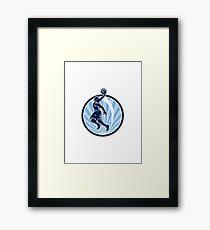 Basketball Player Dunk Ball Retro Framed Print