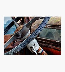 The Blue Truck: Steering Wheel Photographic Print