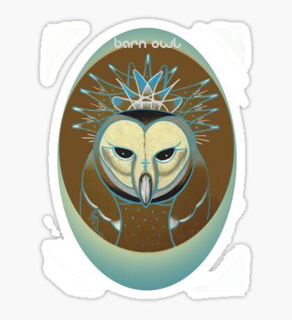 barn owl shirt, pale blue icy owl Sticker