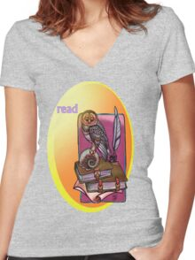 read. Women's Fitted V-Neck T-Shirt