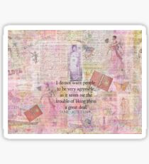 Jane Austen whimsical humor people quote Sticker