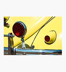 Yellow VW Beetle and Red Lights Photographic Print