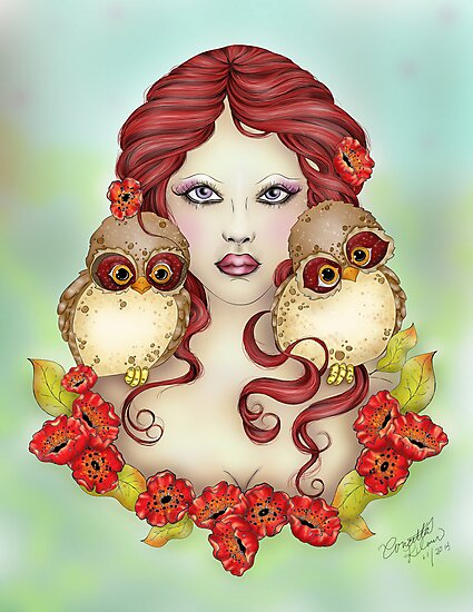 The Guardian - Owl and Maiden Fantasy Art by Concetta Kilmer