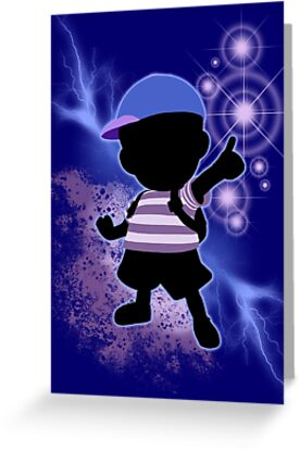 super smash bros blue ness silhouette greeting cards by jewlecho