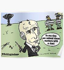 Editorial balding Andrew Jackson cartoon Poster