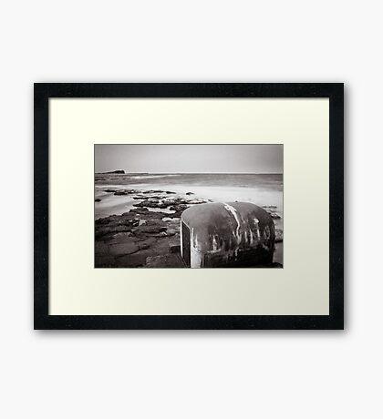 Newcastle Ocean Baths - Pump House B&W  Framed Print