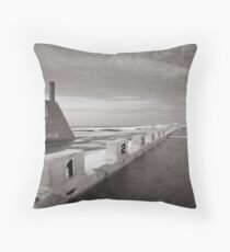 Newcastle Ocean Baths - B&W  Throw Pillow