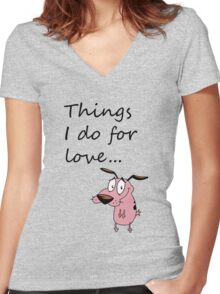 COURAGE THE COWARDLY DOG Women's Fitted V-Neck T-Shirt