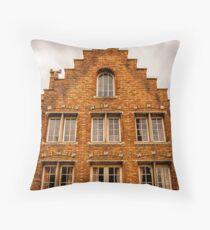 A Facade in Brugge Throw Pillow
