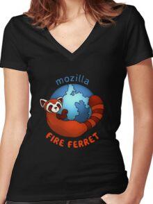 Mozilla Fire Ferret Women's Fitted V-Neck T-Shirt