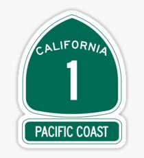 California 1 - Pacific Coast, Road Sign Sticker