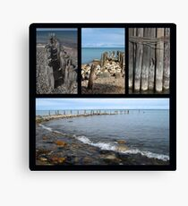 Old Pilings Collage Lake Huron and Michigan Canvas Print