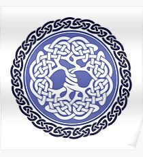 Celtic Tree of Life, blue Poster
