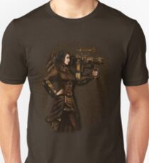 Steam Punk Girl Holding Antique Rocket Launcher T-Shirt