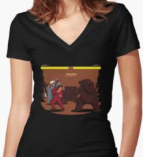 Bear Fight! Women's Fitted V-Neck T-Shirt