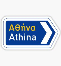 Athens, Road Sign, Greece Sticker