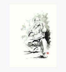 Karate martial arts kyokushinkai Masutatsu Oyama japanese kick japan ink sumi-e Kunstdruck