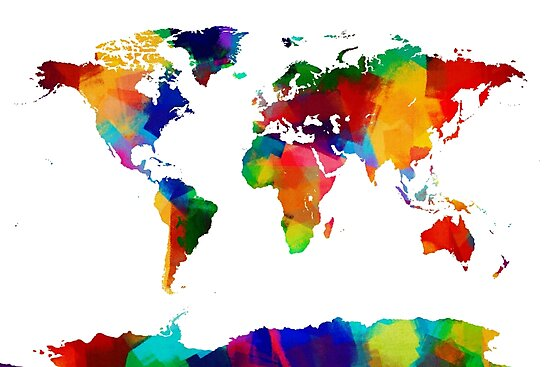 Map of the world map painting photographic prints by michael map of the world map painting by michael tompsett gumiabroncs Image collections