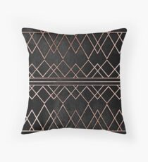 Chic & Elegant Faux Rose Gold Geometric Triangles Throw Pillow
