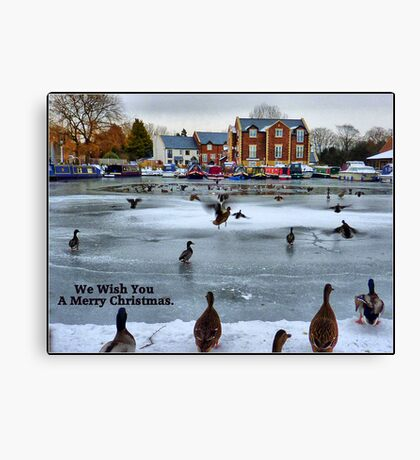Frozen Lancaster Canal at Garstang. Canvas Print