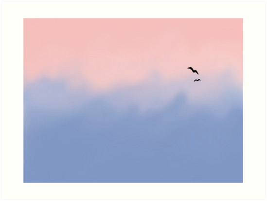 Rose Quartz And Serenity Sky Art Prints By Platypusdoodles Redbubble
