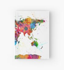 Map of the World Map Watercolor Hardcover Journal