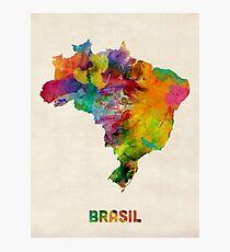 Brazil Watercolor Map Photographic Print