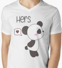 """His & Hers"" Panda (Couple Shirts) Boy Version Men's V-Neck T-Shirt"