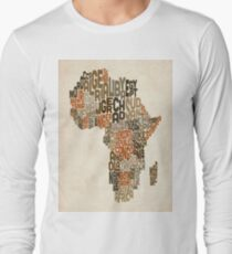 Typography Text Map of Africa T-Shirt