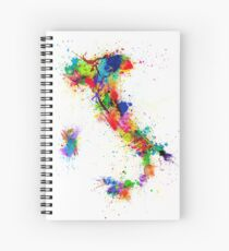 Italy Map Paint Splashes Spiral Notebook