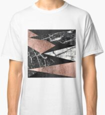 Elegant Modern Marble, Rose Gold, & Black Foil Triangles Classic T-Shirt