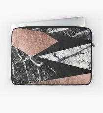Elegant Modern Marmor, Rose Gold & Schwarz Folie Dreiecke Laptoptasche