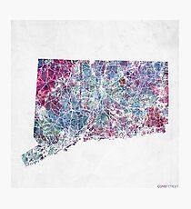connecticut map cold colors Photographic Print